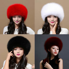 Womens Ladies Real Fox Fur Hat Russian Ushanka Lamb Polyester Top Warm Winter