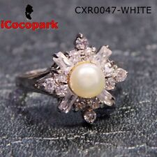 Size 8 9 Round Pearl White Gold filled Ring Woman Valentine's Christmas Gift