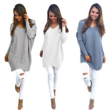 New Pullover Thin Sweater Ladies Loose Tops Womens V-neck Long Sleeve