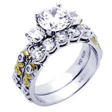 Women Silver 1.5ct CZ 14K Yellow Gold Plated Two Tone Engagement Ring Bridal Set