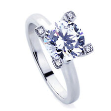 Women Silver 2ct CZ Solitare Stone Set Top On Prongs Wedding Engagement Ring