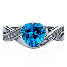 Women Sterling Silver Wedding 2ct Simulated Blue Topaz CZ Heart Promise Ring