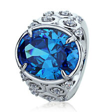 Women Sterling Silver Oval Simulated Blue Topaz CZ Cocktail Ring