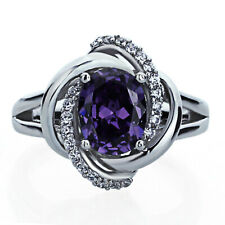 Women Silver Celtic Love Knot 2ct Oval Simulated Amethyst CZ Cocktail Ring