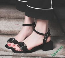 Sweet Summer Women's Ankle Strap Block Buckle Casual Shoes Sandals Plus Size **