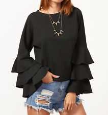 Blouse Black Tiered Long Sleeve Casual