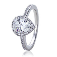 Women Silver Rhodium Plated 1.75ct Pear Cut CZ Halo Solitaire Engagement Ring