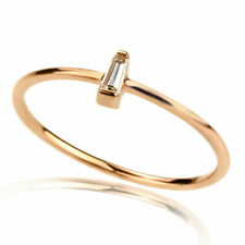 Women 1mm 14K Rose Gold Engagement 0.05ct Diamond Accent Solitaire Promise Ring