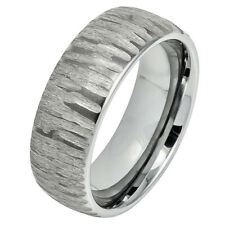 Men Women 8MM Comfort Fit Tungsten Carbide Band Domed Tree Bark Carved Ring