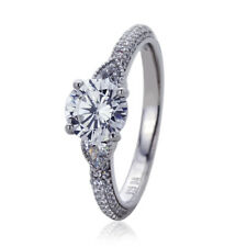 Women Silver Rhodium Plated 1.25ct Stunning Vintage Solitaire Engagement Ring