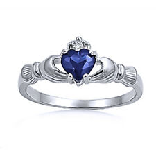 Women Sterling Silver Simulated Blue Sapphire CZ Heart Claddagh Ring 9MM