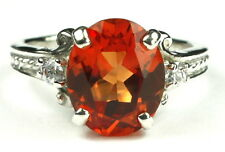 • SR136, Created Padparadsha Sapphire, 925 Sterling Silver Ladies Ring -Handmade