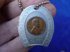 Vintage Joe W. Brown's Horseshoe Club Good Luck Penny Token Keychain  1956 D
