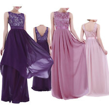 Elegant Women Long Lace Evening Party Dress Cocktail Bridesmaid Prom Gown Formal