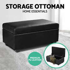 Blanket Box Storage Ottoman PU Leather Fabric Chest Toy Foot Stool Bed WE