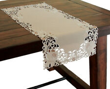 Xia Home Fashions Scrolling Rose Embroidered Cutwork Table Runner