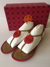 New Tory Burch MILLER Fringe Thong Sandals 8 9.5 Dusty Cypress Hibiscus Pink NIB