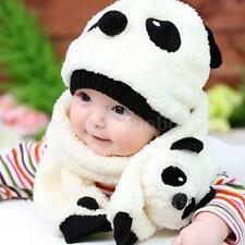 Winter Baby Toddler Girl Boy Warm Cute Panda Hat Cap Beanie Scarf Set Kids N1H5