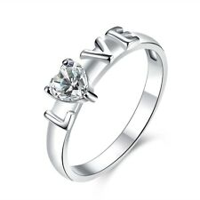 925 Silver Plated Rings Crystal Girls Ring Sz 7 8 Wedding Womens Love Heart
