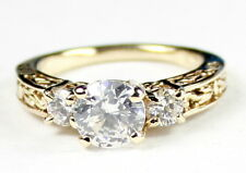 • R254, Cubic Zirconia w/ 2 Accents, 10k Yellow Gold Ladies Ring - Handmade