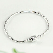 HH- Silver Plated Snake Chain With Barrel Clasp Bead Charms Bangle Bracelet Prop