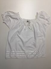 100% Cotton White Petite Peasant Eyelet & Lace Embroidered Blouse Tops  PS NWT