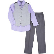George Boys Glen Plaid Special Occasion Dress Outfit Set Gray Purple 8 10 Suit