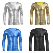 Mens Slim Fit Long Sleeve Shirt Faux Leather V Neck T-shirt Muscle Tee Shirt