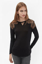 NWT FCUK French Connection Julia Lace Top Tee Blouse Black sz S / M