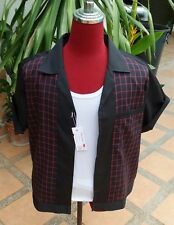 Handmade 1950's Style Retro Mens Rockabilly Bowling Shirt Black & Red Check