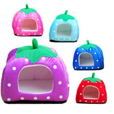 Soft Strawberry Pet Dog Cat Bed House Kennel Doggy Fashion Cushion Pad S-XXL