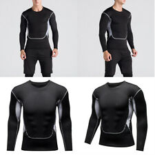 Mens Compression T Shirt Wicking Cool Running Gym Top Sports Performance Tee