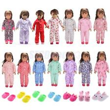 Handmade 18inch Doll Clothes Outfit Pajamas Slippers for 18'' American Girl Doll