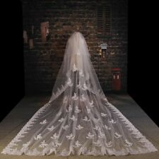 3 M Luxury 2 T Cathedral wedding Veil applique lace Long white ivory Veils +comb