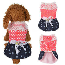 Pet Clothes Polka Dot Star Lace Faux Pearl Bow Fleece Lining Dog Dress Pretty