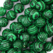 """Faceted Synthetic Green Malachite Round Beads 15"""" Strand 4mm 6mm 8mm 10mm 12mm"""