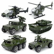 Playset Toy Vehicle Models Military Helicopter Tank Jeep Truck Armored Car Metal