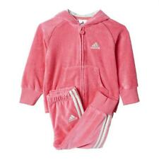 adidas Baby Girls Velvet Tracksuit Top And Bottoms Pink NEW