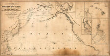 1849 Chart of the North Pacific Ocean US Coastal Map Nautical Wall Poster Print