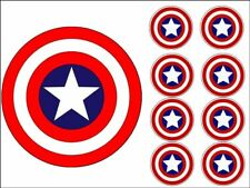 "MARVEL CAKE TOPPERS 7"" ROUND + 2"" CUPCAKE TOPPERS X8 EDIBLE PHOTO ICING ITEM703"