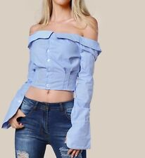 Striped Collared Off Shoulder Long Sleeve Shirt Blouse Casual Party
