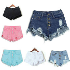 Ladies High Waisted  Ripped Hole Short Mini Jeans Pants Denim Shorts Pants