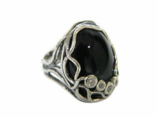 NEW black onyx Fine 925 Sterling Silver Shablool Ring Statement For Women