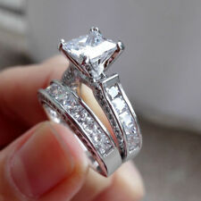 Women 925 Sterling Silver 3 Ct AAA Cubic Zirconia Princess Cut Ring NEW