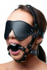LEATHER BLINDFOLD HEAD HARNESS MOUTH GAG face strap eye mask chin prisoner goth