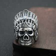 Men Stainless Steel Gothic Ring Indian Chief Skull Rings Biker Costume Jewelry