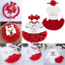 Baby Girls Short Sleeve Christmas Tulle Dress Outfit Bodysuit Xmas Party Costume