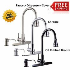 "16""18'' Pull-Out Brushed Nickel Kitchen Sink Faucet Spray Swivel One Handle SK"