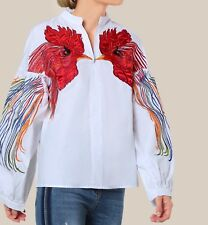 Bird Embroidered Bishop Sleeve Long Sleeve Top Blouse Casual