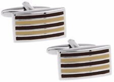 Classical Traditional Brown Stripe Mens Gift Office Cuff Links CUFFLINKS DIRECT